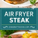This air fryer steak is tender beef coated in seasonings, then air fried to golden brown perfection and topped with garlic and herb butter.