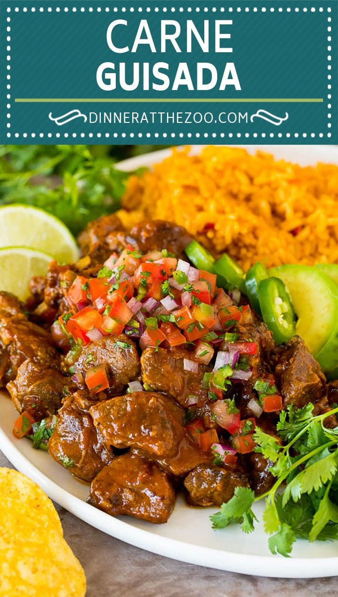 This Mexican style carne guisada is beef that is stewed with tomatoes, peppers and spices until it becomes tender and flavorful.