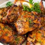 Chicken thigh marinade that's grilled onto chicken pieces.