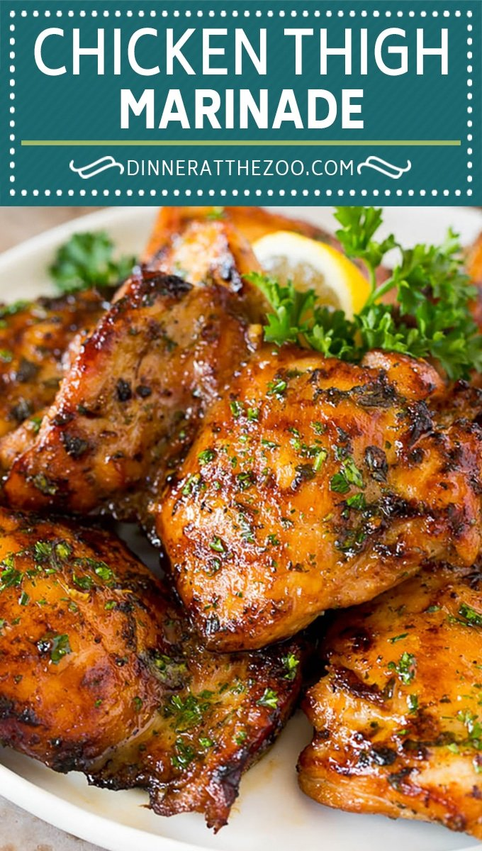 This chicken thigh marinade is a savory blend of fresh herbs, garlic, olive oil, lemon and seasonings.
