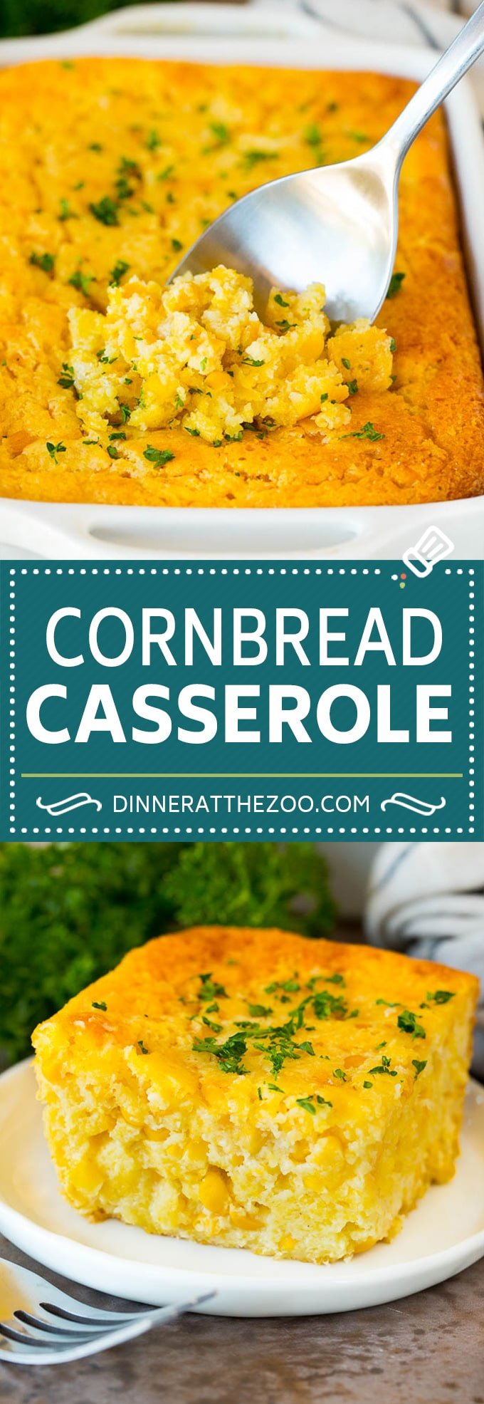 This cornbread casserole is a blend of corn muffin mix, canned corn, creamed corn, seasoning, eggs and butter, all baked together to make a hearty dish.