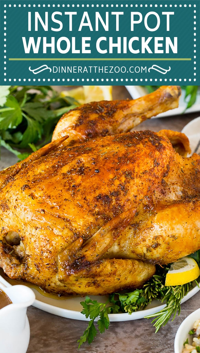 This Instant Pot whole chicken is coated in butter, herbs and spices, then pressure cooked to tender and juicy perfection.