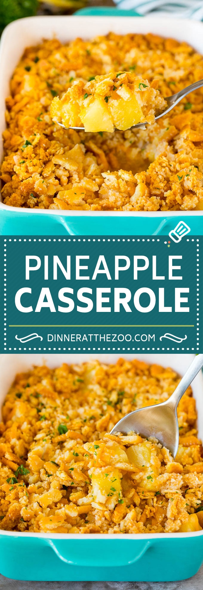 This Southern pineapple casserole is pineapple, cheese and buttery crackers, all baked together to create a sweet and savory side dish.