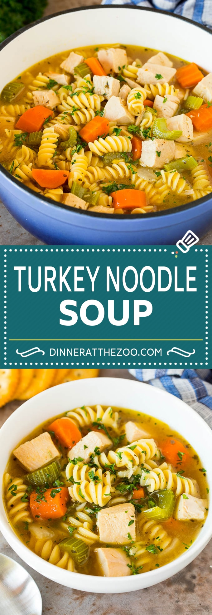 This turkey noodle soup is chunks of turkey, vegetables and pasta, all simmered together in a homemade broth.