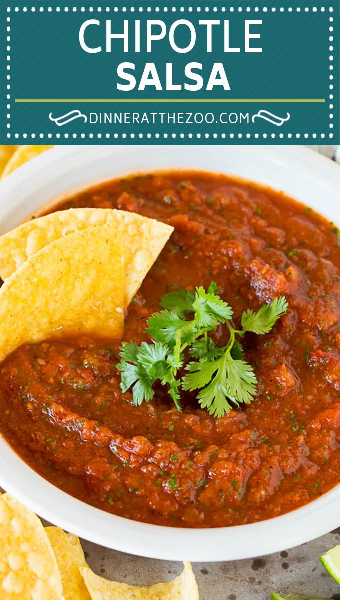 This chipotle salsa is a blend of fire roasted tomatoes, onion, chipotle peppers, cilantro and lime juice, all mixed together to make a smoky and spicy salsa.