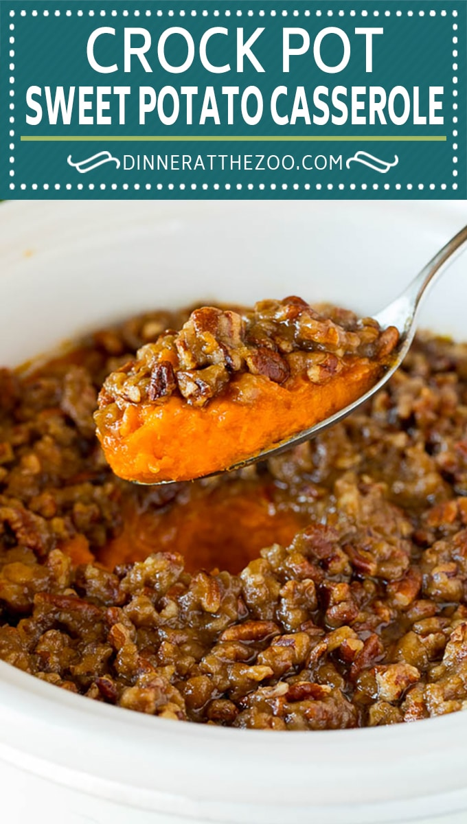 This crock pot sweet potato casserole is yams mashed with sweetener, vanilla and spices, then finished off with a brown sugar pecan topping.