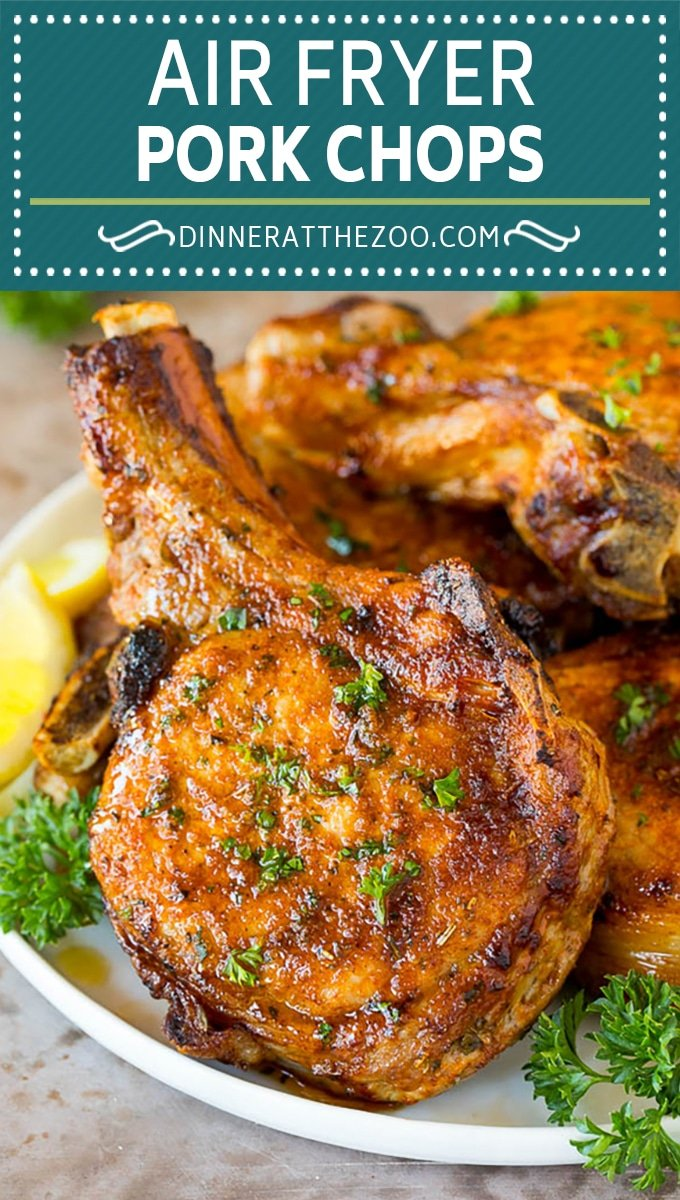 These air fryer pork chops are coated in a homemade spice rub, then air fried until golden brown.