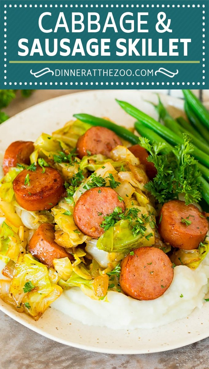 This cabbage and sausage skillet is a combination of smoked sausage, vegetables and savory seasonings, all cooked together to make a quick and easy dinner.