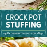 This crock pot stuffing is a mix of bread cubes, sauteed vegetables and seasonings, all placed in the slow cooker to create a flavorful and delicious side dish.