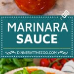 This homemade marinara sauce is a blend of tomatoes, basil, garlic, olive oil and herbs, all simmered together.