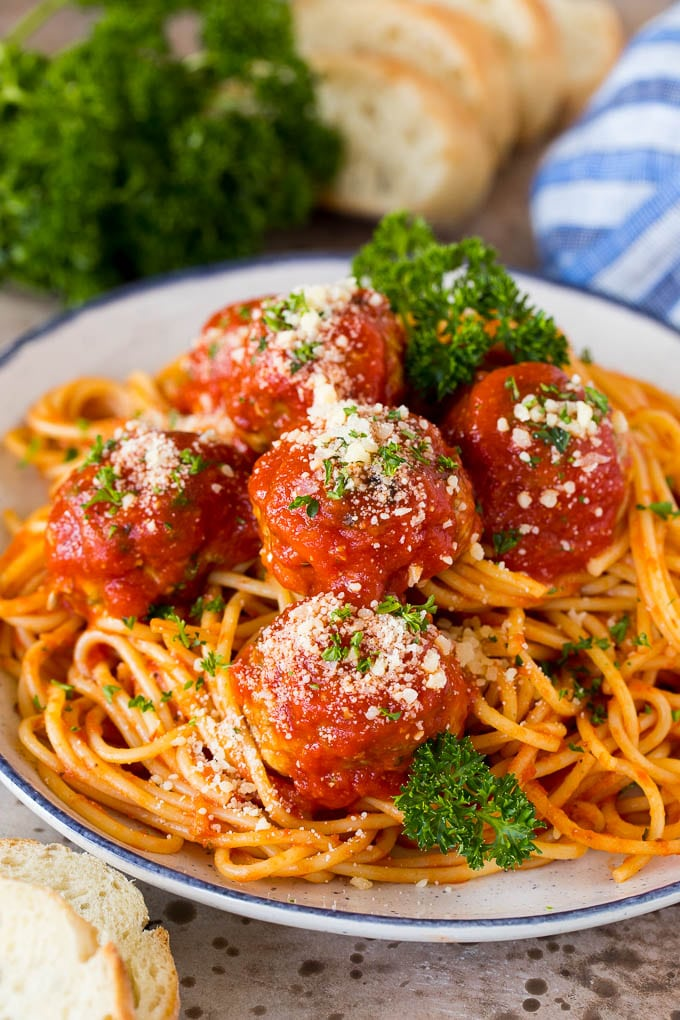 Italian meatballs served over spaghetti.