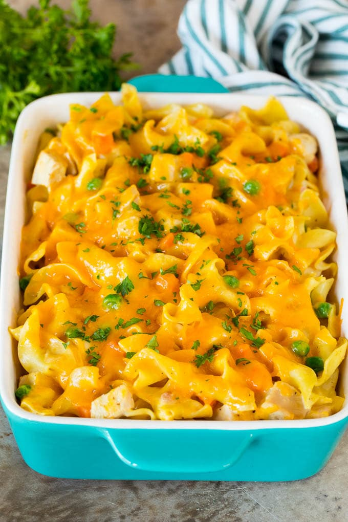 A baked casserole with turkey, vegetables and noodles.