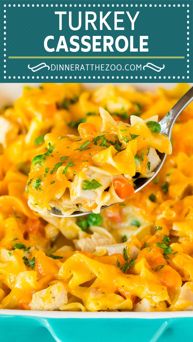 This turkey casserole is made with diced leftover turkey, egg noodles and vegetables, all tossed in a creamy cheesy sauce.