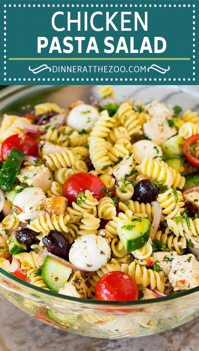 This chicken pasta salad is grilled chicken with olives, cheese and fresh vegetables, all tossed in a homemade Italian dressing.