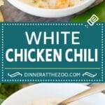 This white chicken chili is a creamy blend of chicken, chilies, beans and spices, all simmered together.