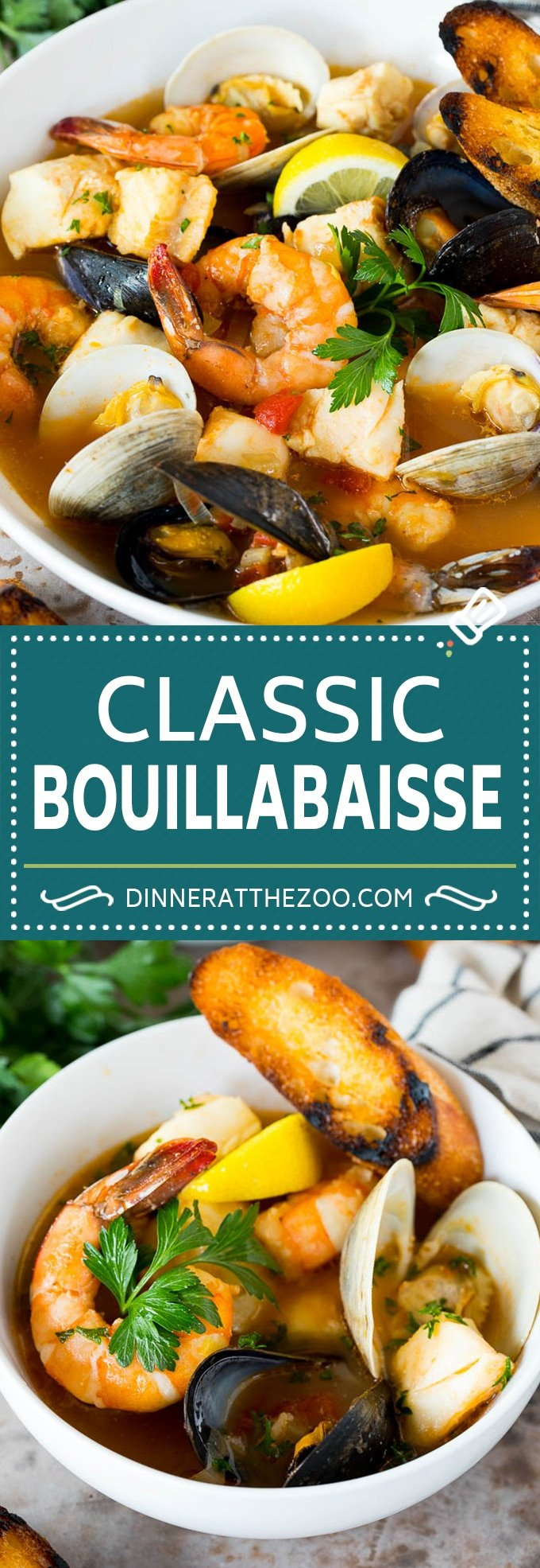 This bouillabaisse is French seafood stew with fresh fish, shrimp, clams and mussels, all simmered together in a flavorful broth.