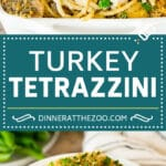 This turkey tetrazzini contains diced turkey, mushrooms and peas, all tossed with pasta in a creamy sauce, then baked to perfection.